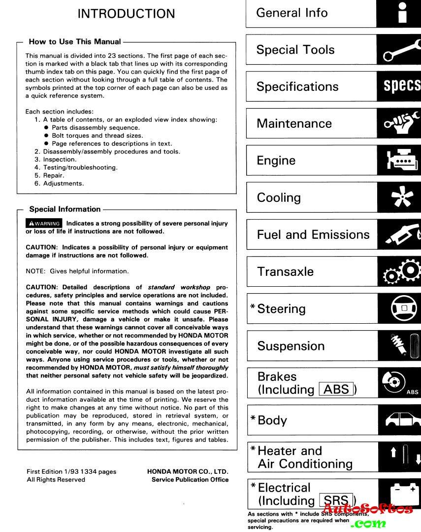 Honda Accord 1993-1996 (CC7, англичанка) Service Manual [1994, PDF