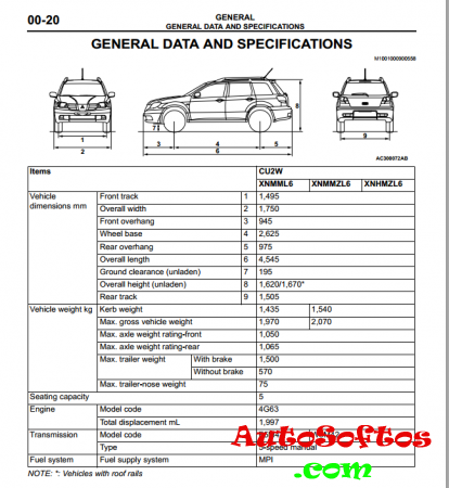 Mitsubishi Outlander 0003-2006 (Европа) - сервисная инструкция, эл. схемы [2003, PDF, ENG] Скачать