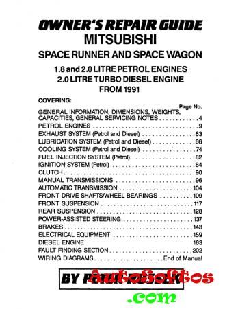 Mitsubishi Space Runner / Space Wagon 0991 Repair Guide [1996, PDF, ENG] Скачать