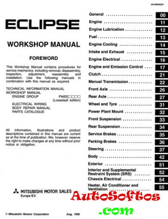 Mitsubishi Eclipse Workshop Manual 1995 Скачать
