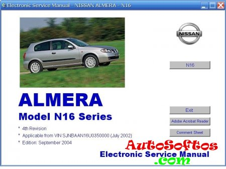 Nissan Almera N16E (September 2004) Electronic Service Manual [2004, PDF] Скачать