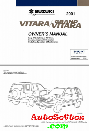 Suzuki VITARA/GRAND VITARA OWNER'S MANUAL [2001, PDF, ENG] Скачать